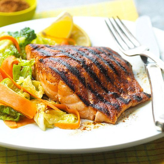Try this simple Spice-Rubbed Salmon at your next barbecue. More ...