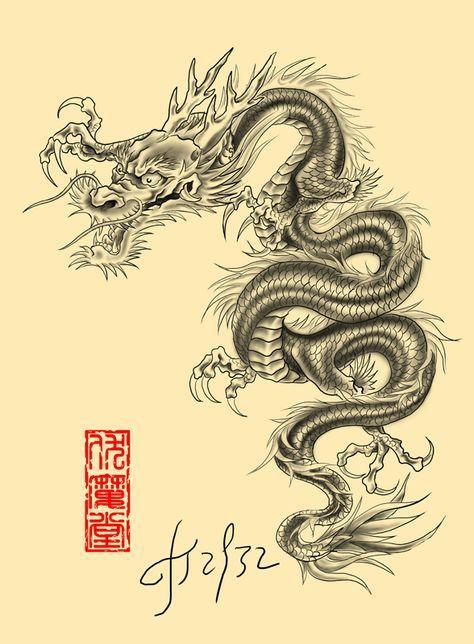 Тату дракон япония