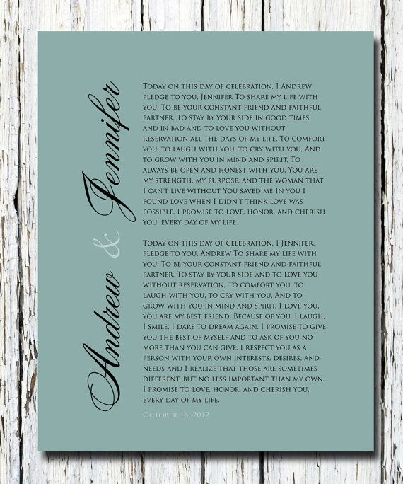 PAPER Anniversary Gift, Our WEDDING VOWS Print, First Anniversary Gift ...