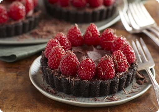 Driscoll's Double Chocolate Mousse Tartlets with Raspberries. | Driscolls.com