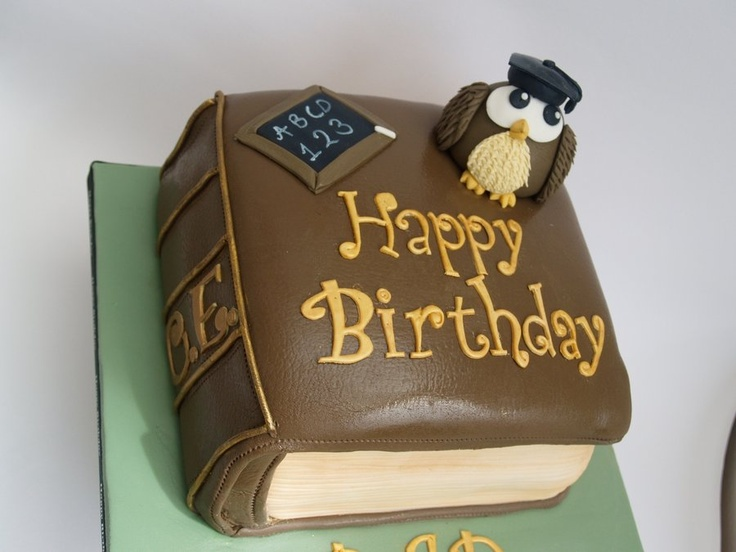 Wise owl on book birthday cake READ Pinterest