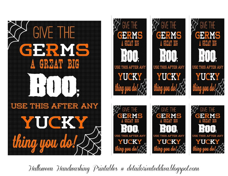 Detail-Oriented Diva!: Halloween Handwashing Printable Decor or Gift
