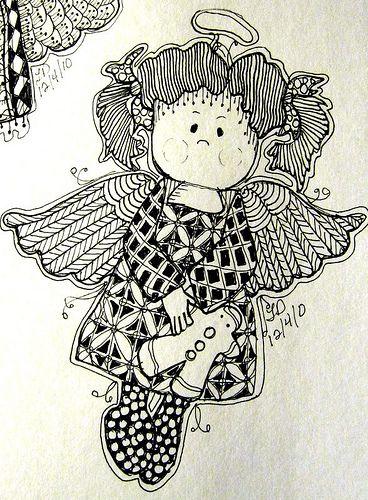 Angel 2 patterns templates doodle zentangle fonts amp coloring