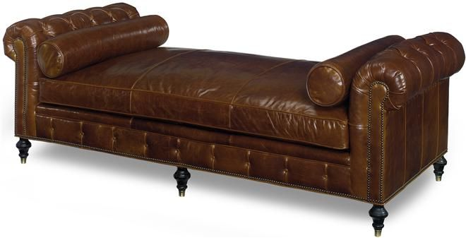 Brown leather tufted chaise lounge dream home continued for Brown leather chaise longue