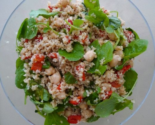 Bulgur Salad with Chickpeas, Roasted Peppers & Spiced Cumin Dressing