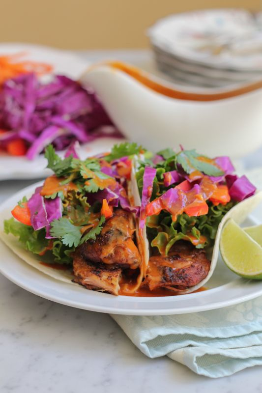 Chicken Satay Tacos with Spicy Peanut Sauce for #SundaySupper | Hip ...