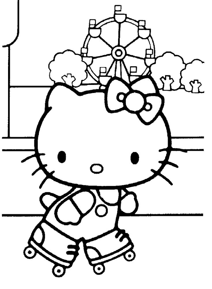 Hello Kitty Cake Coloring Pages : Hello kitty coloring pages roller skating pinterest
