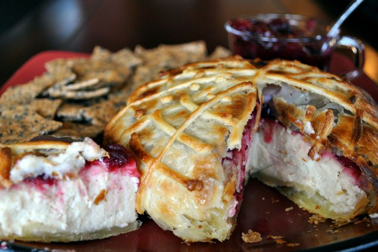 "Vegan Macadamia Nut ""Brie"" en Croute, with Cranberry sauce."