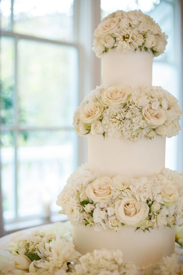 White Roses and Hydrangeas Wedding Cake