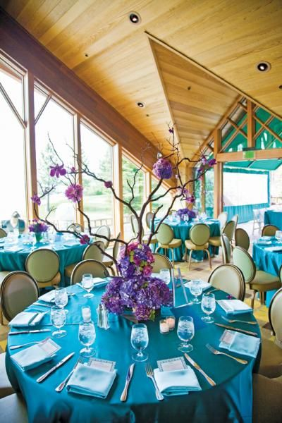 Our favorite wedding ideas reception themes - Purple and teal centerpieces ...
