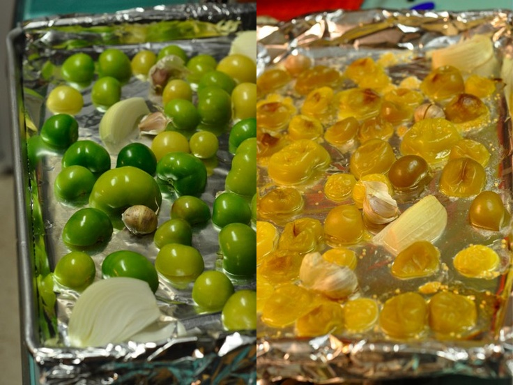 Roasted Tomatillo salsa. Time to use up the CSA bounty. Will probably ...