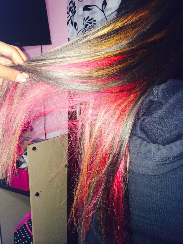 blonde peekaboo red underneath dark brown long hair