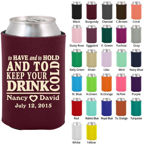 Wedding favor koozies to have and to hold reanimators