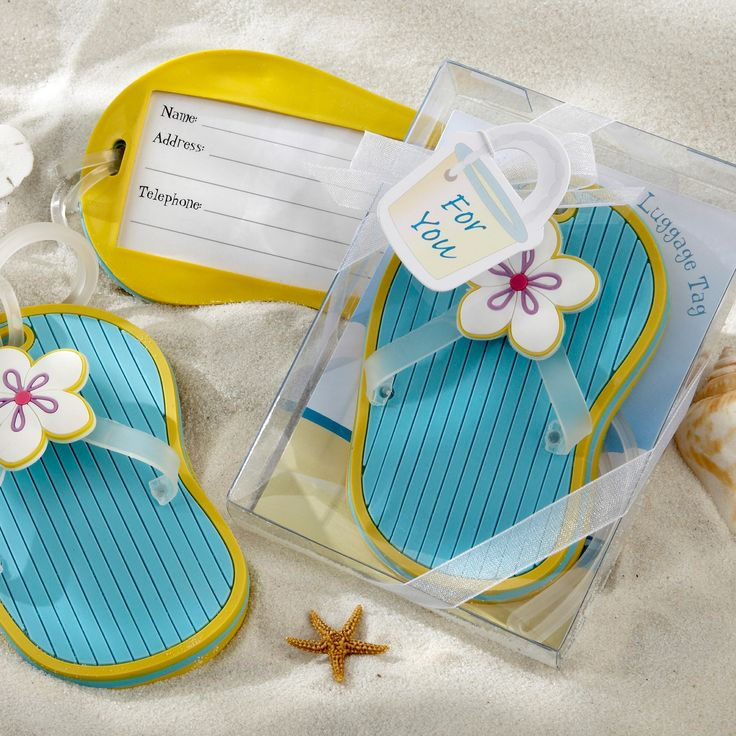 flip flop luggage tag wedding favor exclusivelyweddings