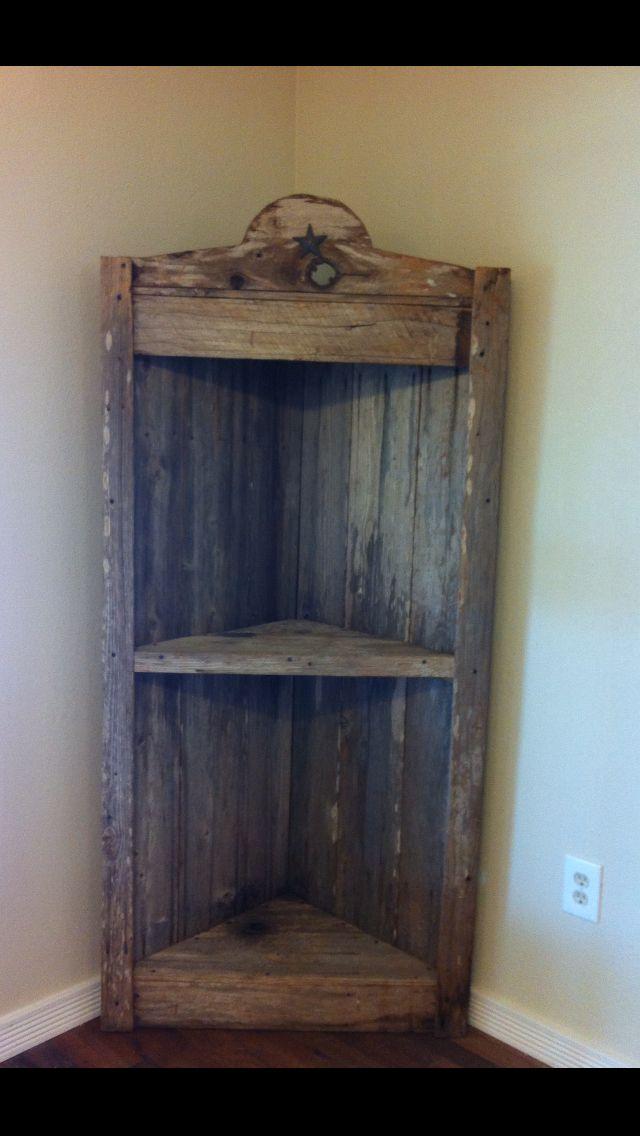 Old barn wood corner shelf rustic home decor pinterest