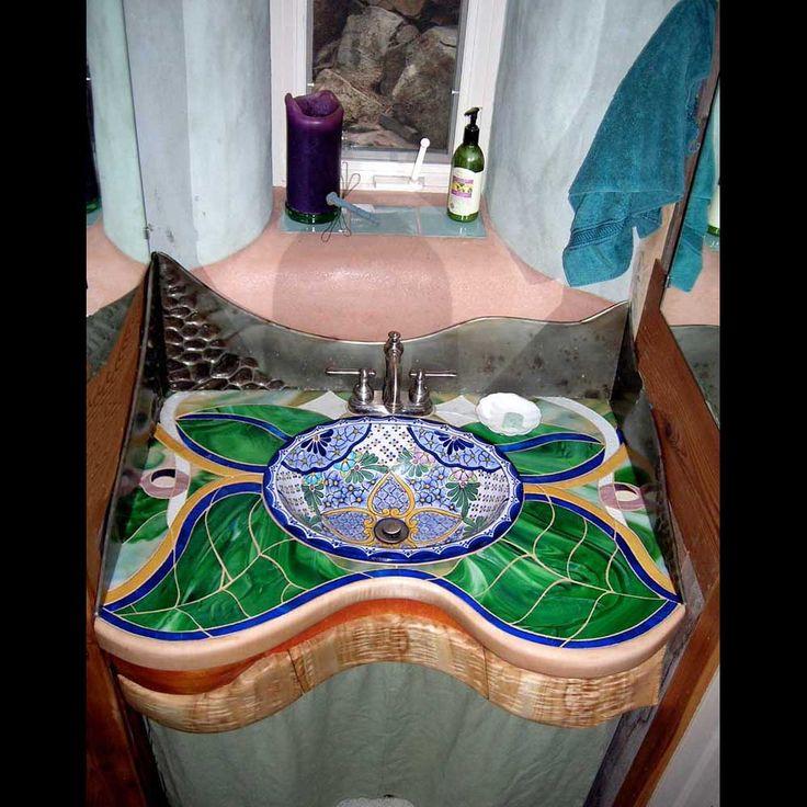 Mosaic bathroom sink.....so amazing!.....