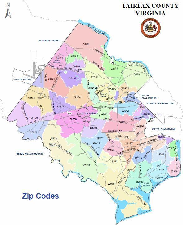 Fairfax County Va Zip Code Map Fairfax County Va Zip