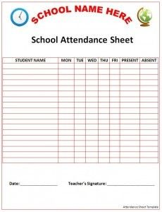 Student Daily Attendance Sheet – Printable Editable Blank Calendar ...