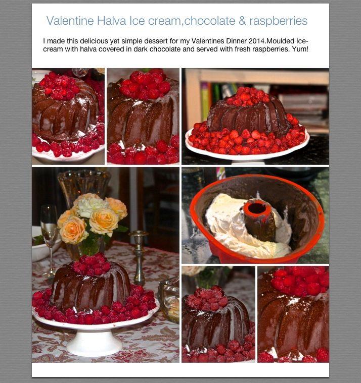 Valentine Halva ice-cream in a chocolate mould with fresh raspberries ...