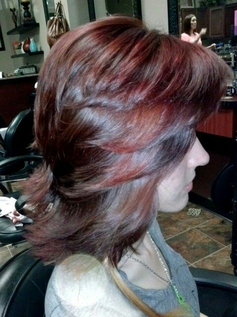 Red on layers | Vivid color on long and short hair | Pinterest