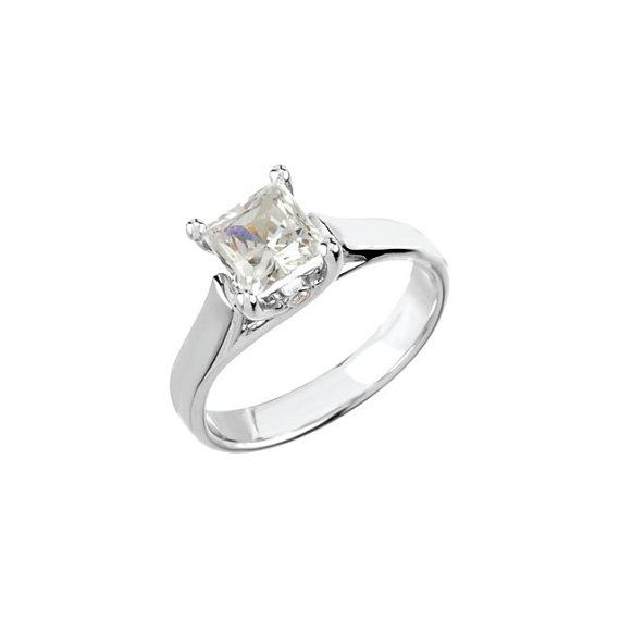 Solitaire Diamond Engagement Ring Princess Cut Square Diamond Cl…