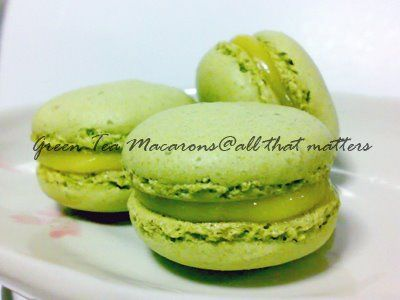 Matcha Green Tea Macarons Recipe | Green Tea | Pinterest