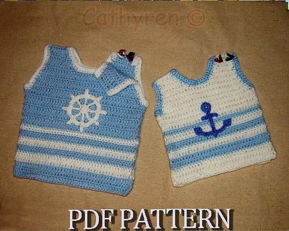 Free Crochet Pattern Baby Cowboy Chaps : Little Baby Sailor Vest with appliques, Photo prop ...