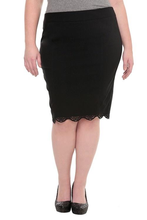 torrid black lace trim pencil skirt 44 plus