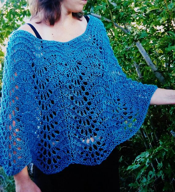 Knitting Pattern For Lace Poncho : Pure and Simple Knitting Pattern EASY LACE PONCHO Elegant for Evening?