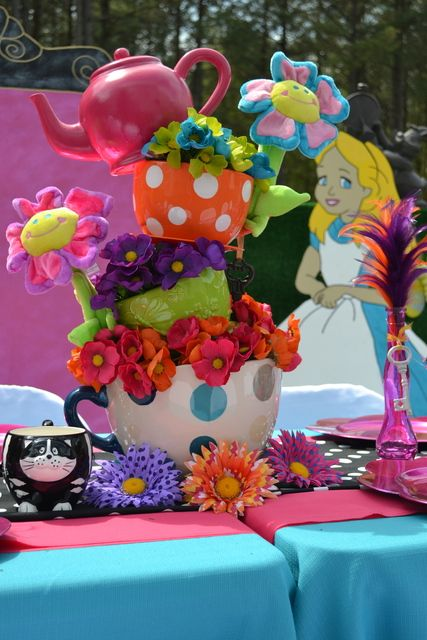 Photo 1 of 8 alice in wonderland mad tea party birthday for Alice in wonderland party decoration ideas