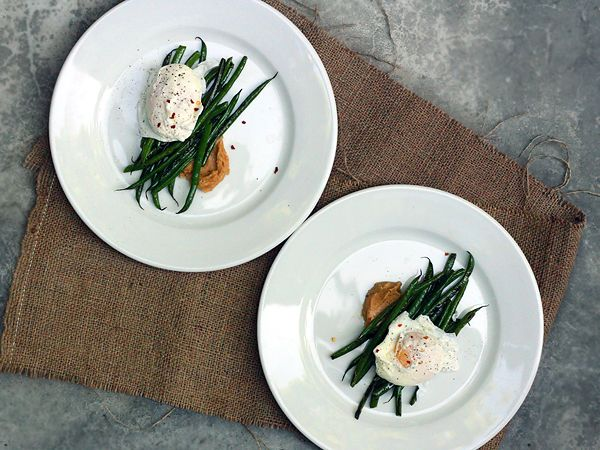Poached eggs and green beans with miso butter