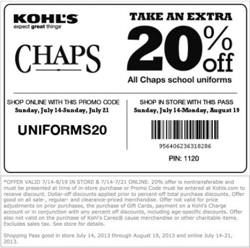 Kohls 20 coupon code