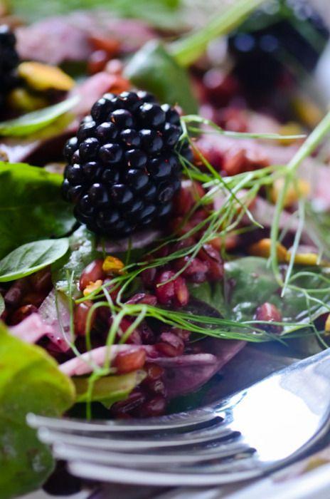 Freekeh salad with blackberry vinaigrette | Scaling Back