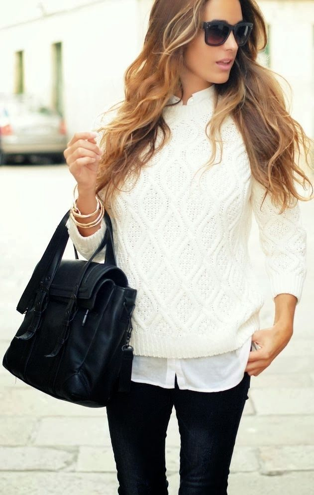 White sweater with white shirt and black pants