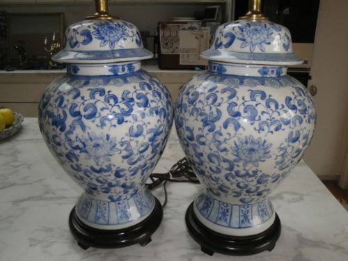 blue and white ginger jar lamps on ebay give me light pinterest. Black Bedroom Furniture Sets. Home Design Ideas