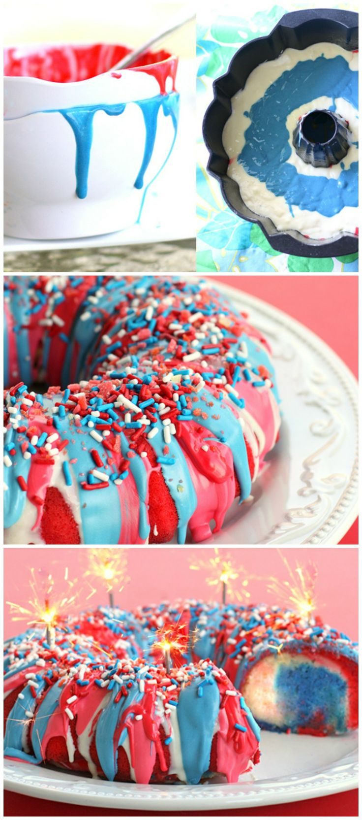 Firecracker Cake ~ A patriotic vibrant cake drizzled with frosting and ...