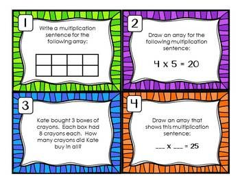 ARRAY AND MULTIPLICATION TASK CARDS / SCOOT {3RD GRADE COMMON CORE}
