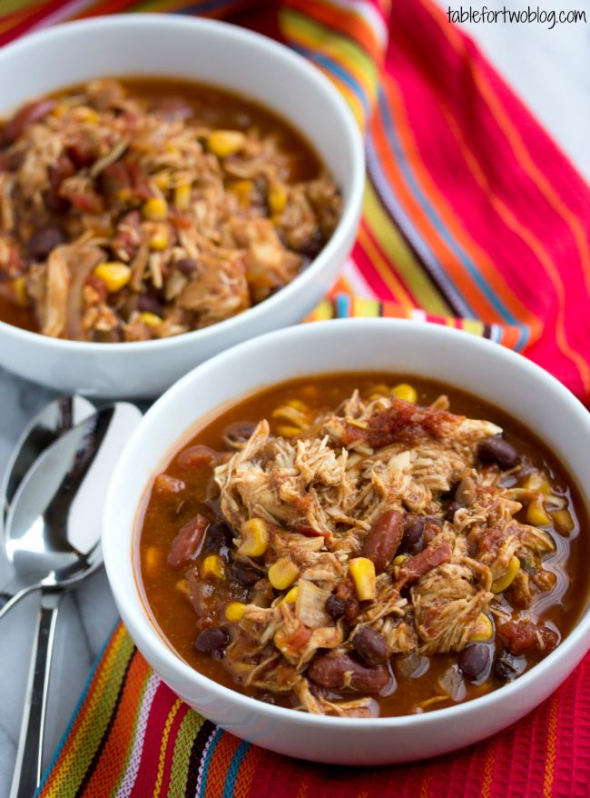 Crockpot Chicken Taco Chili from www.tablefortwoblog.com -- chopped ...