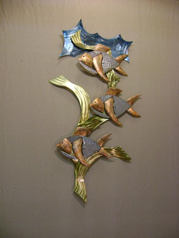 Reef fish brass copper stainless steel metal wall for Fish wall sculptures