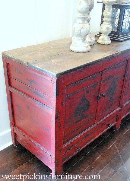 distressed red dresser cabinet