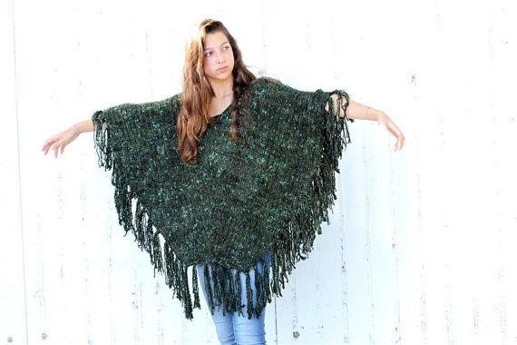 Knitting Pattern For Womens Poncho : Knitted Green Poncho, Black Knit Poncho Pattern, PDF ...
