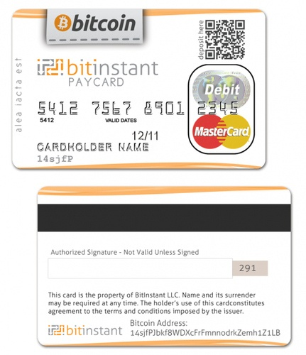 bitcoin debit card - real one coming, this is a mockup