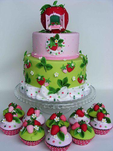 Beautiful Strawberry Cake Images : Beautiful Strawberry Garden Cake children cakes Pinterest