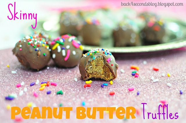 Skinny Peanut Butter Truffles #healthy #dessert #candy #party