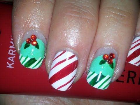Nail art tutorial candy cane cupcakes nails pinterest