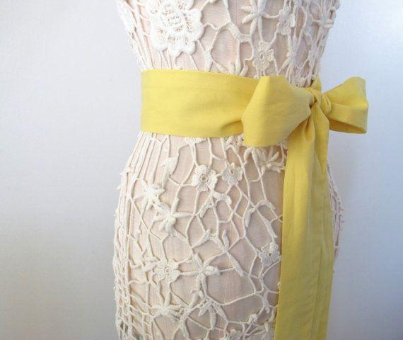Yellow cotton sash wedding dress sash bridal sash by ccdoodle