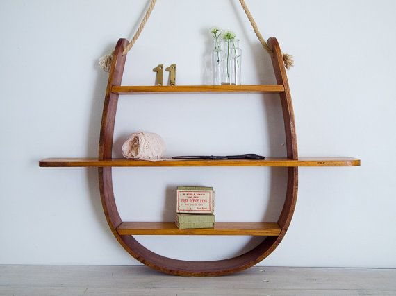... for rebecca - vintage wooden nautical themed shelf with rope hanger
