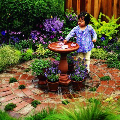 front yard patio with birdbath