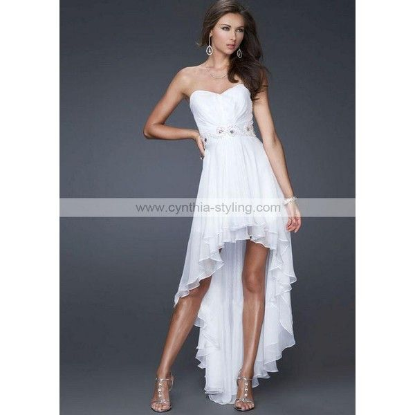 Romantic beaded white chiffon high low a line wedding for White high low wedding dress
