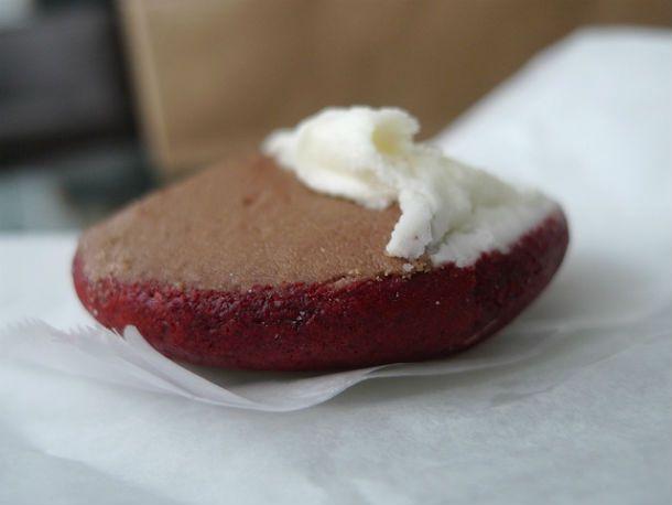 red velvet black and white cookies | OMG Red Velvet | Pinterest